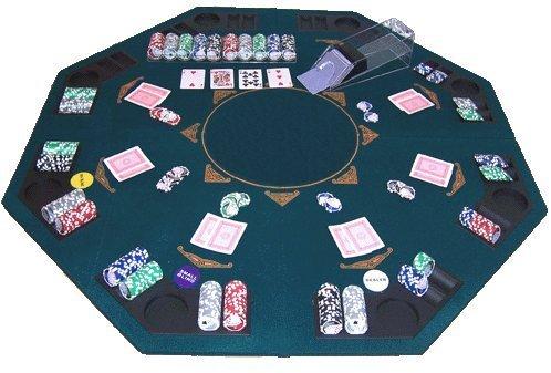 GOODS+GADGETS Faltbare Pokerauflage Poker Auflage Aufsatz Tischauflage 120 x 120 cm für 8 Personen Pokertischauflage aus Holz überzogen mit bedruckten Filz Pokermatte Pokerteppich
