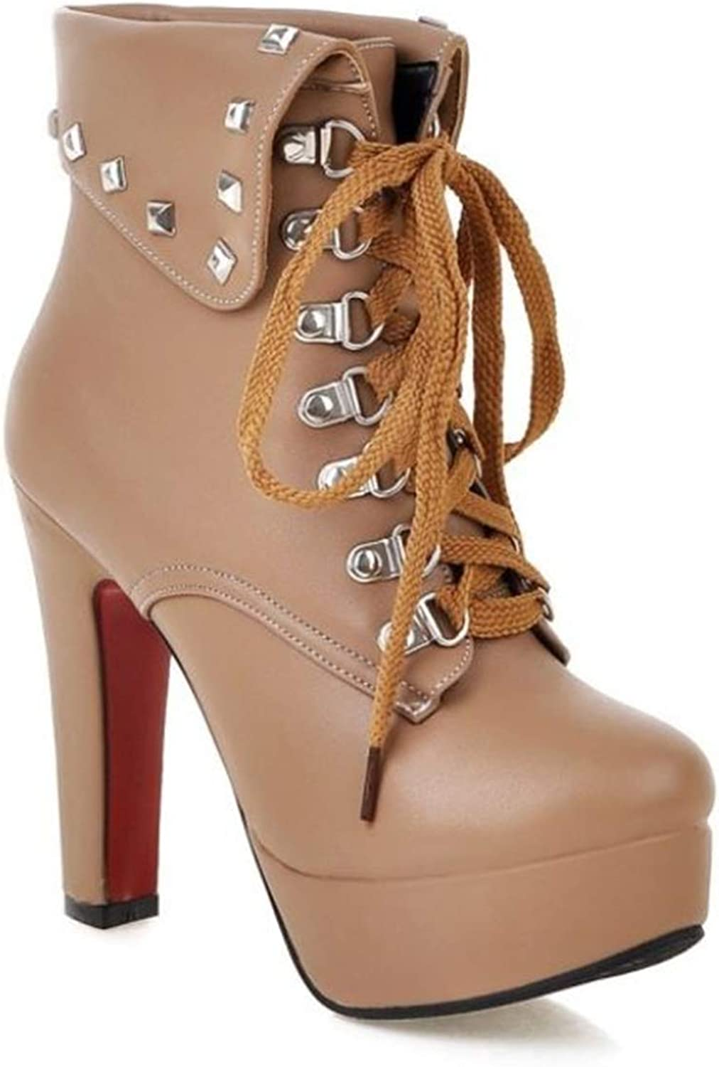 CHENSF Women's Round Toe Ankle Rivet Lace Up Stiletto High Heel Boots