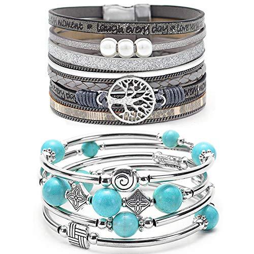 YooAi 2 Stück Wickelarmband Mehrschichtiges Lederarmband Böhmische Perle Baum des Lebens Armbänder Schmuck Für Frauen Türkisgrau