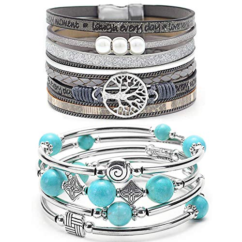 YooAi 2 Pieces Wrap Bracelet Multilayer Leather Bracelet Bohemian Beaded Tree of Life Bracelets Jewelry for Women Turquoise Grey