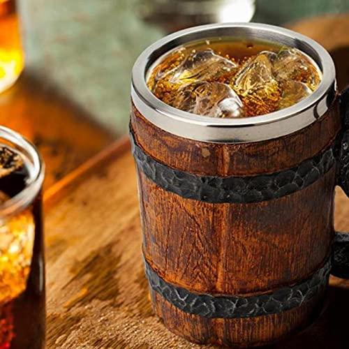 YYSD Barril de Madera Resina de Acero Inoxidable Taza de Cerveza 3D Juego de Jarra Jarra Taza de café Tazas de Copa de Vino 550Ml Niños Taza de Bar