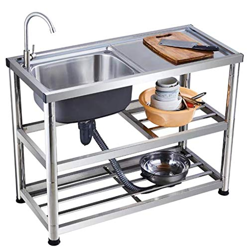 Stainless Steel Single Bowl Commercial Kitchen Sink,Free Standing Utility Sink with Drainboard for Outdoor, Indoor, Garage, Kitchen, Laundry/Utility Room
