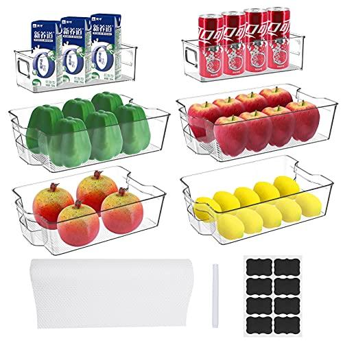 Seahelms - Set di 6 contenitori da cucina trasparenti per frigorifero, con manico, con adesivi e tappetini per frigorifero, congelatore, dispensa, ripiani (31,5 x 21,5 x 8,6 cm)