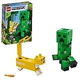 LEGO Minecraft Bigfigurine Creeper et ocelot Ensemble de construction, Jouets pour enfants de 7 ans et plus, 164 pièces, 21156