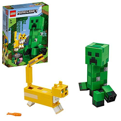 LEGO 21156 Minecraft BigFig Creeper und Ozelot Figuren-Bauset, Spielzeug für Kinder ab 7 Jahren