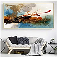 Ytsmsyy現代抽象油絵ポスターとプリント壁アートキャンバス絵画リビングルームの装飾のためのカラフルなリズムの写真; 50x150cm.20x59inchフレームなし