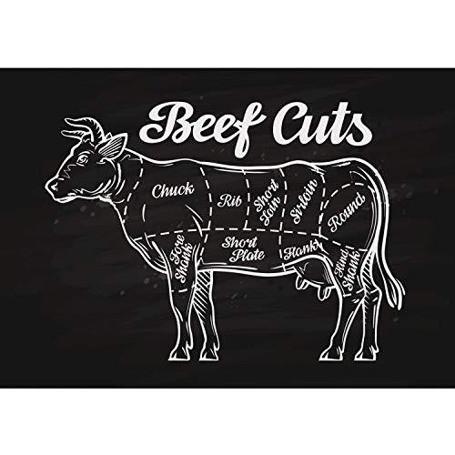 Vlies Fototapete PREMIUM PLUS Wand Foto Tapete Wand Bild Vliestapete - Beef Cuts Rind Rindfleisch - no. 3281, Größe:152.5x104cm Vlies