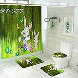 XZYP Juego de 4 cortinas de ducha con alfombras antideslizantes, tapa de inodoro, alfombrilla de baño y 12 ganchos de conejo y huevos de Pascua para decoración de baño, 2