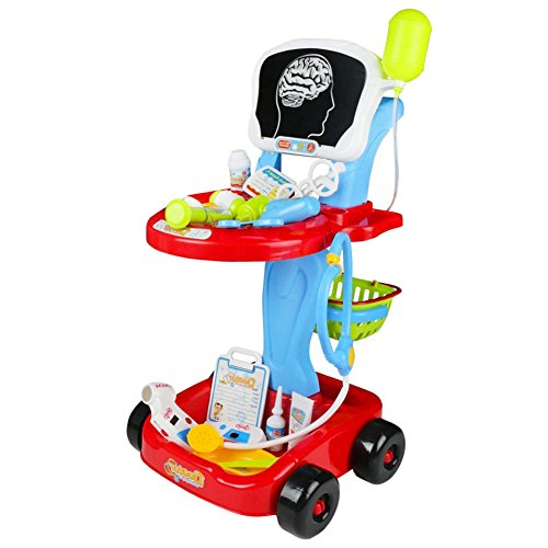 Fajiabao Doctor Cart Medical Kit Pretend Playset Doctors Set for Toddlers Double-Decker Trolley with Stethoscope Syringe Accessories Role Playing Preschool Educational Indoor Games for Kids 3 4 5