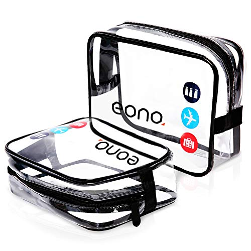 Eono by Amazon - Clear Toiletry Bag Waterproof Toiletry Travel Bag Clear PVC Zippered Cosmetic Bag Cosmetic Makeup Bag Clear Wash Bag Toiletry Organizer Make Up Bag for Travel Bathroom Men and Women