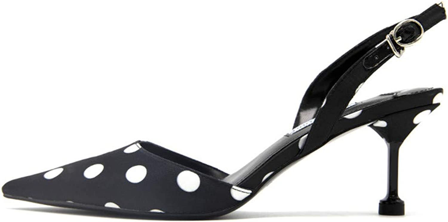 XJLE High-Heeled shoes with Ladies Polka dot Fashion Sandals Temperament Ladies