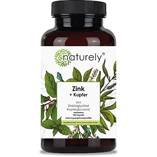 naturely® Zink mit Kupfer - 180 Kapseln - Aus Zinkbisglycinat und Kupfergluconat - 15mg Zink je Kapsel - vegan, laborgeprüft, hergestellt in DE