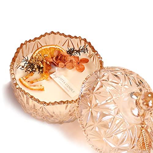 NOONE Vela de aromaterapia caja de regalo Set creativo regalo de vacaciones secas flor perfumada vela de soja