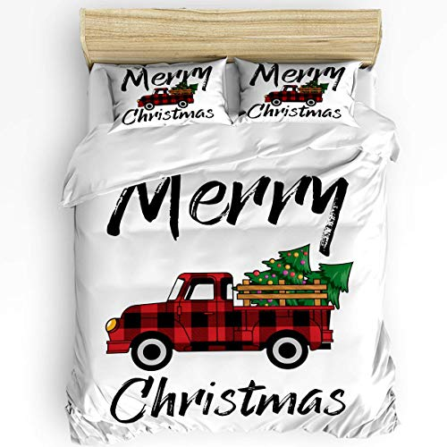 SUPERQIAO Merry Christmas Tree Farm Truck Soft 3PCS Bedding Sets, Red and Black Buffalo Check Lattice Car Luxury Duvet Cover Set with Decorative 2 Pillow Shams Bedspread