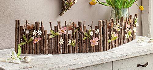 "Deko-Zaunelement ""Osterwiese"", 100 cm lang, rustikaler Blüten Dekozaun, Beetzaun, Dekoobjekt"