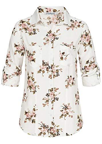 Seventyseven Lifestyle Damen Shirt Turn-Up Bluse Blumen Print Top 2 Brusttaschen Off Weiss rosa, Gr:M