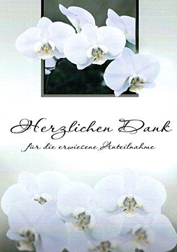 Trauer Danksagungskarten Trauerkarten ohne Innentext Motiv weiße Orchidee 10 Klappkarten DIN A6 mit weißen Umschlägen im Set Dankeskarten Dankeschön Karten Kuvert Danke sagen Beileid K125