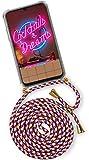 OneFlow® Handykette + Hülle passend für Samsung Galaxy A70 | Stylische Kordel Kette - Kristallklare Handyhülle mit Band zum Umhängen in Rot Gold