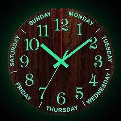 Onmyfly 12 Inch Luminous Wall Clock Wood Silent Light in Dark Night Nordic Fashion Wall Clock Non Ticking Clock with Night Light