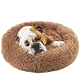 NOYAL Donut Dog Cat Bed, Soft Plush Pet Cushion, Waterproof Machine Washable Self-Warming Pet Bed - Improved Sleep for Cats Small Medium Dogs (Brown, L)