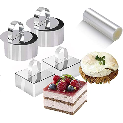 9Pack 3.15'' Food Rings Molds with 3 Inch Cake Collars Stainless Steel Cake Rings Round & Square Cooking Rings Mould with Pressers, Transparent Acetate Sheet Cake Rolls for Baking Pastry, Mousse Cakes