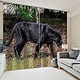 WAFJJ Cortinas Opacas de Ojales Negro y Leopardo con Aislantes Térmicas para Niños y Ventanas de Salón Dormitorio Tamaño:2x75x166cm(An x Al)