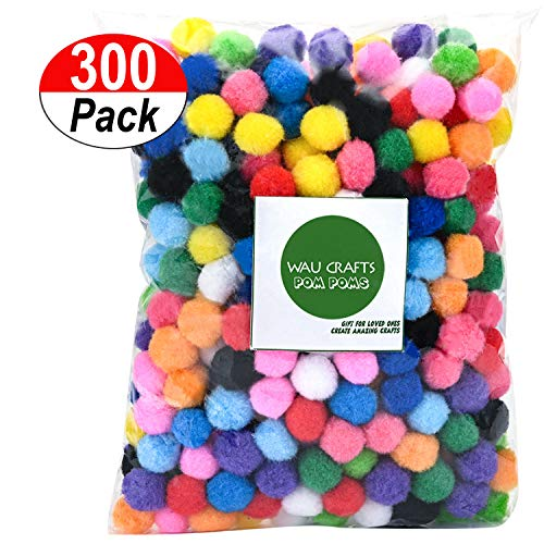 WAU Crafts Pom Poms 1 inch - 300 Pieces Assorted Multicolor Pompoms for Crafts Arts & DIY Projects