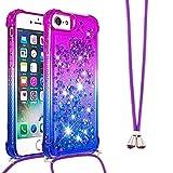 IMEIKONST Case para iPhone 6 / 6S, Glitter Brillante Sparkle Quicksands with Acollador Soft Transparente Silicona TPU Protective Anti-caída Funda para iPhone 8/7 / SE(2020) Purple Blue YB