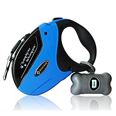 Beastron BP-02 Retractable Dog Leash/16' Extra Long Nylon Ribbon Walking Tangle-Free Leash for Medium to Large Dogs up to 110lbs, One Button Break and Lock, Dog Waste Bag and Dispenser Included, Blue