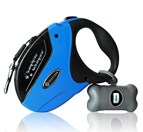 Beastron Heavy Duty Retractable Dog Leash, 16 Extra Long Tangle-Free Nylon, Medium to Large Dogs up to 110lbs, One Button Lock/Unlock, Waste Bags and Dispenser Included (Blue)
