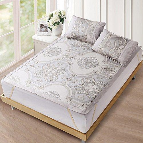 Colchoneta de dormir estera plegable lavable de tres personas de tres piezas de seda del aire de la estera de la estera de la cama para cama de 5 pies / 6 pies ( Color : Gris , tamaño : 1.8m(6ft)bed )