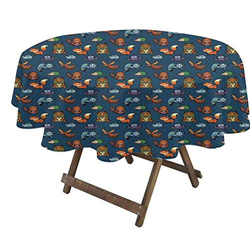 prunushome Woodland Fitted Table Cover Animals from Jungles of Africa with Colorful Motifs on Dark Toned Backdrop 100% Polyester, No Iron, Soil Resistant Multicolor | 36' Round