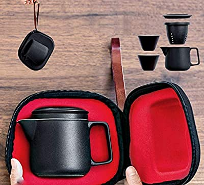 DehuaYao Ceramic Teapot with 2pcs Cups, Portable Travel Tea Set Making tea easily, to simplify the user experience