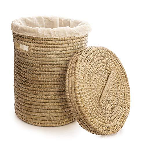 Fair Trade mand wasmand van kaisa-gras met binnenzak en deksel wasverzamelaar handgevlochten mand
