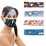 Nidoul Button Headbands for Nurses Doctors Women, Elastic Head Wrap Hair Band for Holding Mask Ear Protection Headwear (4pc colors-2)