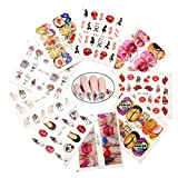 BeautyLos 9 Sheets Nail Art Decals Sticker, Red Kiss Lips Nail Stickers Nail Accessories Decorations for Women Girls Punk Sexy Pattern Design Nail Art Supplies Water Transfer Stickers