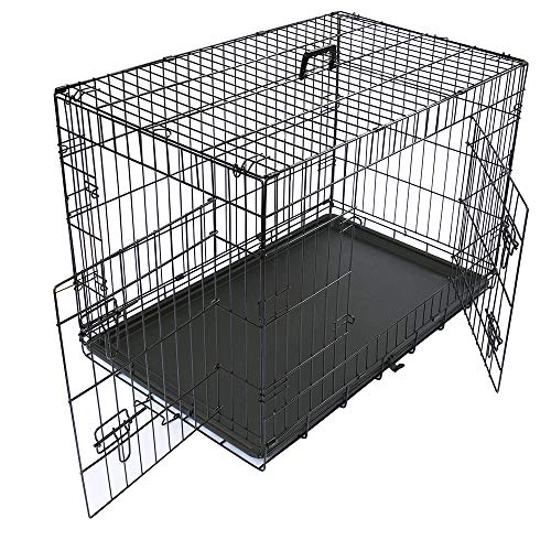 Greenbay Dog Crates Double Doors Foldable Metal Pet Puppy Cage with Tray Training Traveling Crate Large (36 Inch)