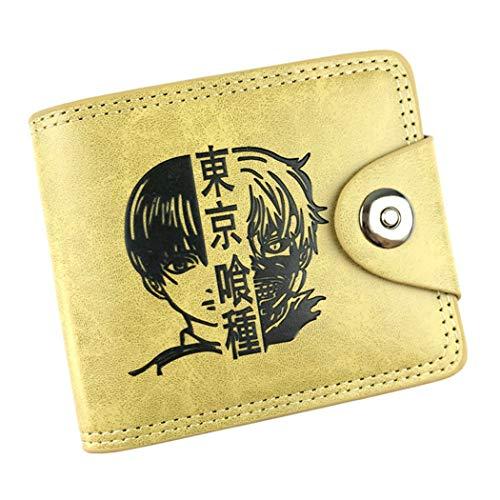 WANHONGYUE Tokyo Ghoul Anime Cartera de Cuero Artificial Monedero Tríptico Billetera Clásico Portatarjetas para Hombre