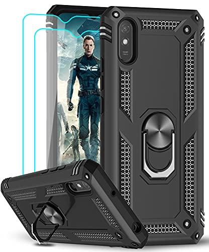 LeYi für Hülle Xiaomi Redmi 9A/Redmi 9AT/Redmi 9i Handyhülle mit Panzerglas Schutzfolie(2 Stück),360 Metall Ring Halter Handy Hüllen Militärische Rüstung Stoßfest Cover Hülle Schutzhülle Jungen Schwarz