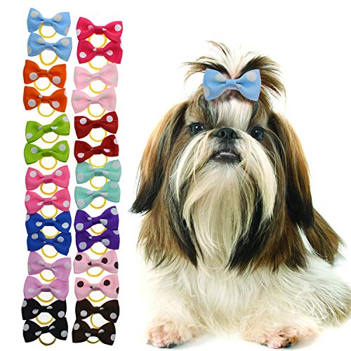 YCSJPET Pet Hair Accessories Bulk,60 PCS Dog Hair Bows Puppy Kitty Hair Bows Grooming for Pet with Rubber Bands
