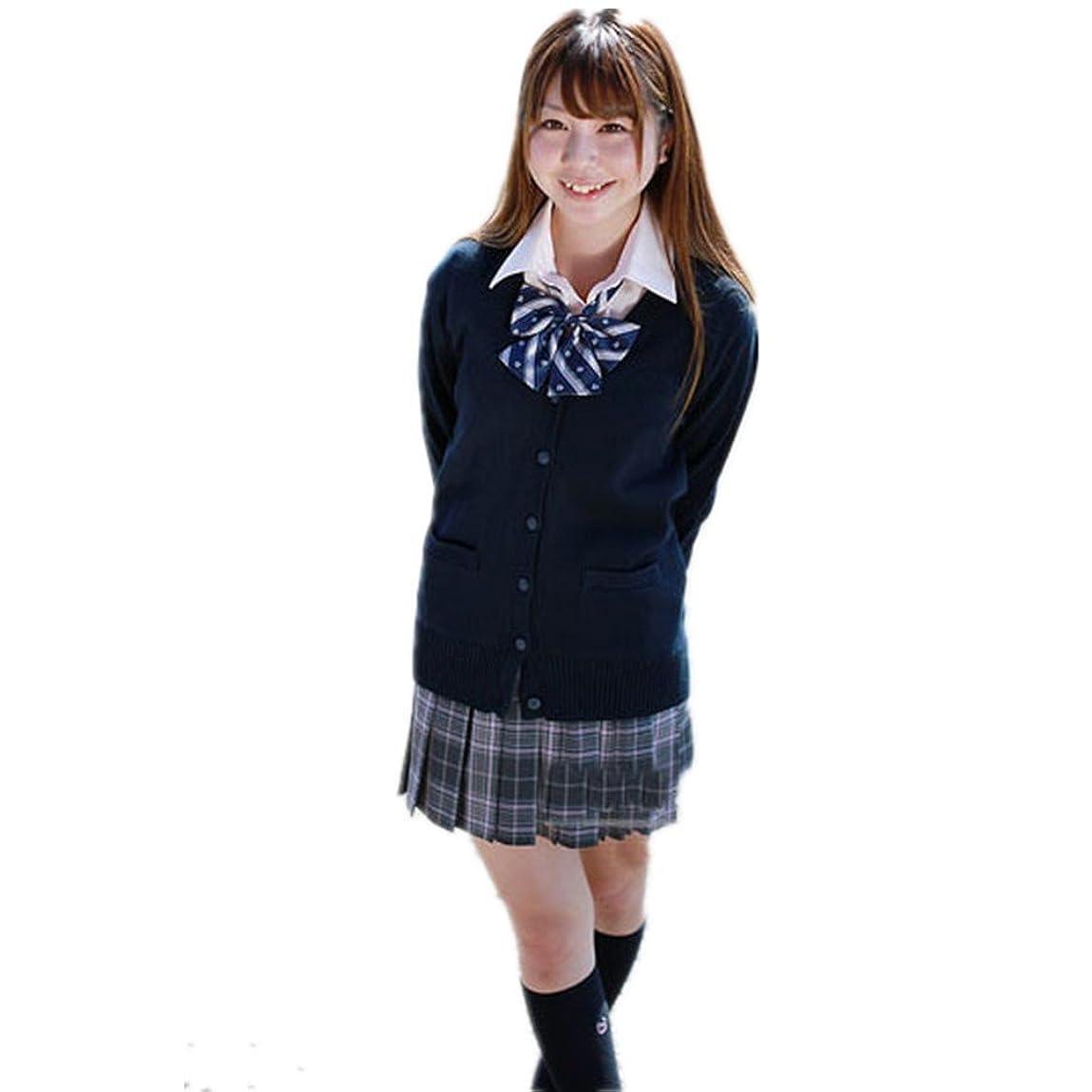 桃代理人アクロバットhappy-JP レディース カーディガン セーター 学生服 制服 スクールセーター Vネック コットン