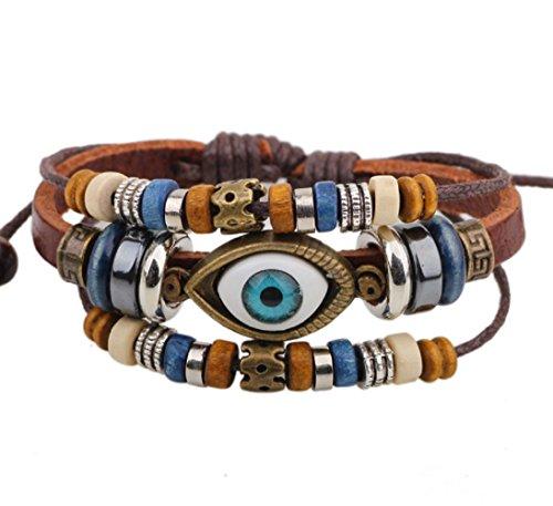 Blowin Fashion Vintage Triple Abalorios Strands Mystic eye colgante Tribal Leather Wrap pulsera
