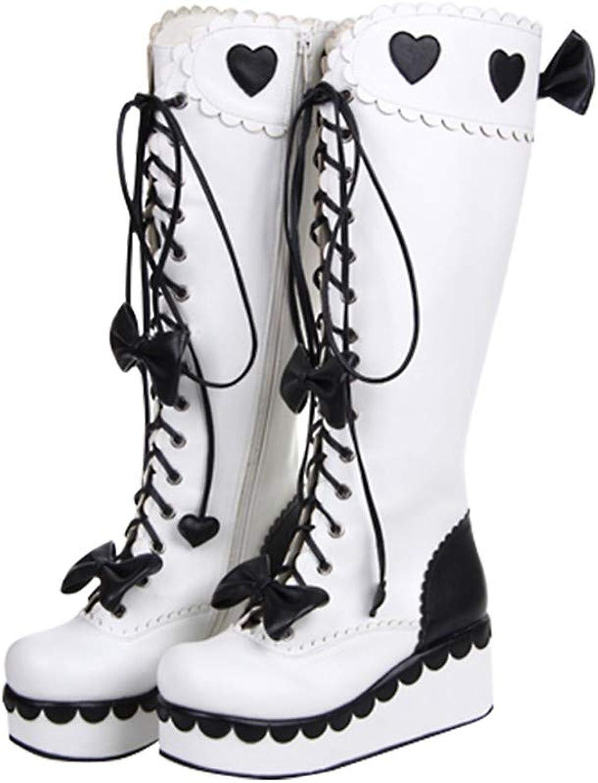 PINGXIANNV Lolita Stiefel Dicke Untere Plattform Stiefel Bogen Kleid Kleid Stiefel Spitze Prinzessin Stiefel,37  erstklassige Qualität
