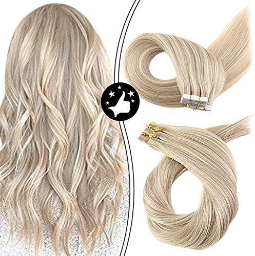Moresoo 14zoll 50g/20pcs tape in extensions echthaar Color Ash Blonde #18 Hervorgehoben mit #613 Bleach Blonde Nahtlose Haut Schuss Remy Menschliches Haar