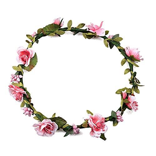 ZUMUii Butterme Damen Mädchen Blumen Stirnband Haarband Kopfband Krone Boho Blumenhaar Dekoration für Garland Wedding Festival Party Travel (Rosa)