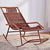 ZZFF Patio Rocking Chair,Relaxing Lounge Chair,Metal Recliner Wicker Chair,Handmade Leisure Chair,Portable Bench Chair for Indoor Outdoor T 46x122x80cm(18x48x31inch)