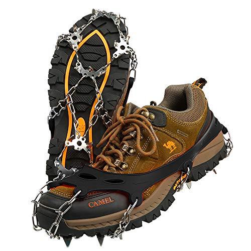 BIFY Schuhspikes, Steigeisen mit 19 Edelstahl Zähne Spikes, Schuhkrallen,Schneekette,Spikes,für Bodenhaftung auf EIS und Schnee and Sport (schwarz, XL)