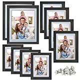 Giftgarden Multi Picture Frames Set Black Photo frame with white mat for Multiple Photos, 10 Pcs, Two 8x10, Four 4x6, Four 5x7