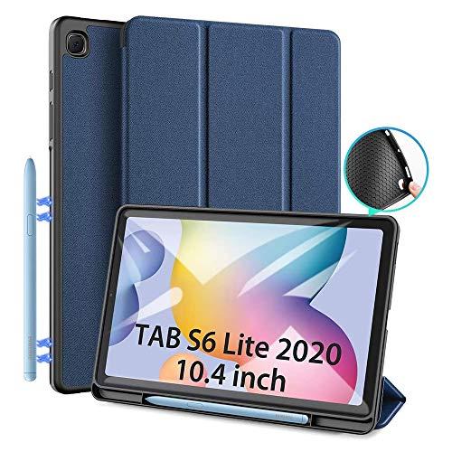 Étui pour Samsung Galaxy Tab S6 Lite 10.4 (P610 / P615) 2020, Étui de protection DUX DUCIS Slim TPU souple avec support S Pen pour Tab S6 Lite 10,4 pouces, couvercle de support avant multi-angle(Bleu)