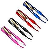 Desire Sky Pinzas de luz LED de maquillaje-4 piezas Pinzas de LED Pinzas de acero inoxidable Pinzas de cejas con luz LED Maquillaje Pestañas de luz